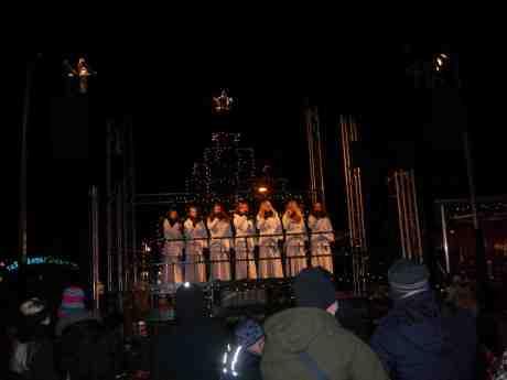 Luciorna sjunger mycket vackert i Bältespännarrparkens Julgran. Tisdag 11 december 2012 kl 17.35.