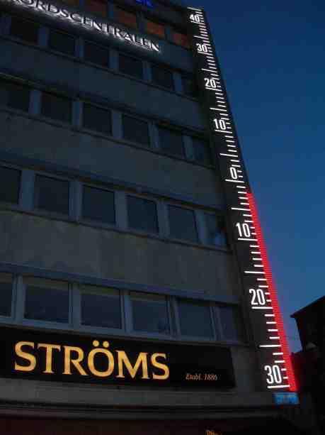 Ströms termometer. Hörnet Västra Hamngatan–Kungsgatan fredag 15 mars 2013 kl 18.34.