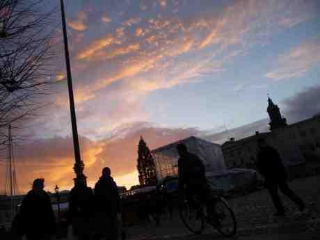 Julgranen på Gustaf Adolfs Torg i motljus. Fredag 20 december 2013 kl 15:07.