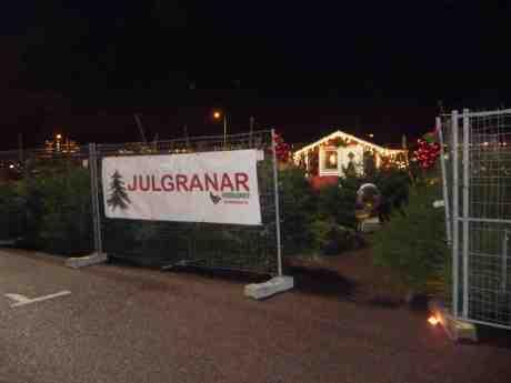 Julgranar vid Eriksbergs Köpcenter. Onsdag 4 december 2013 kl 17:08.