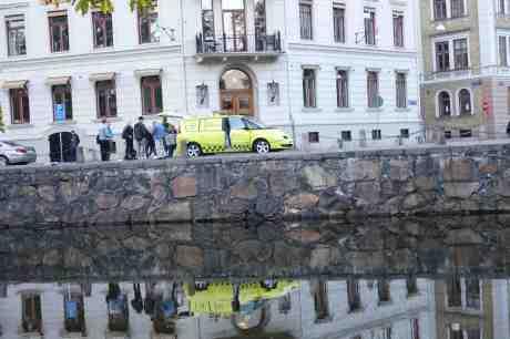 Behjärtansvärda Svenska Djurambulansen tar hand om skadad fågel på Stora Nygatan. Torsdag 25 september 2014 kl 18:29.